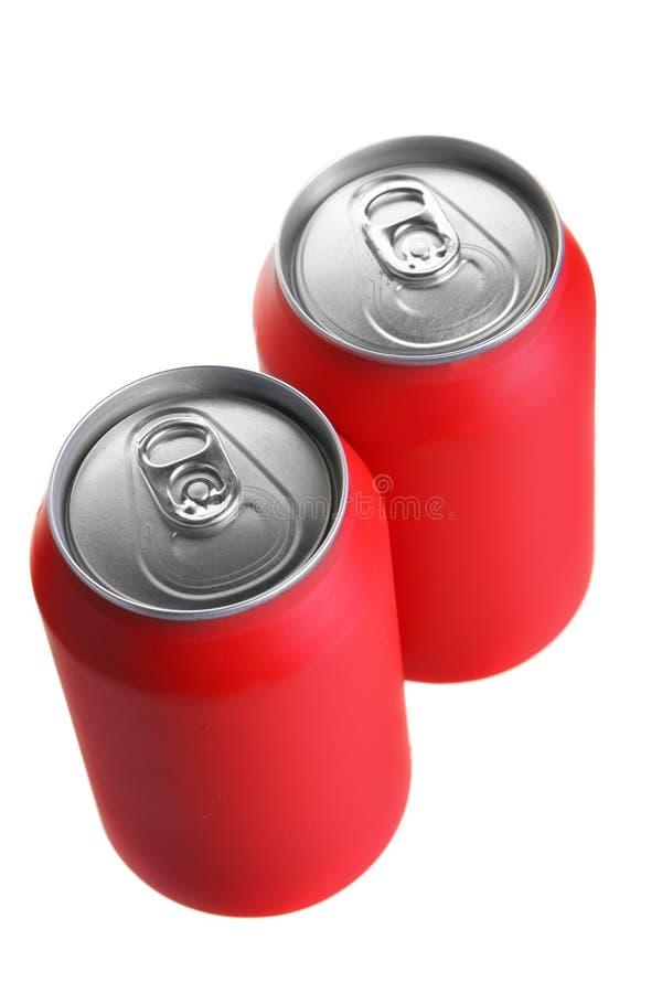 Twee rode drankblikken royalty-vrije stock foto's