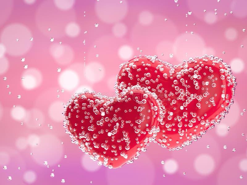 Twee rode harten in champagnebellen royalty-vrije stock afbeeldingen