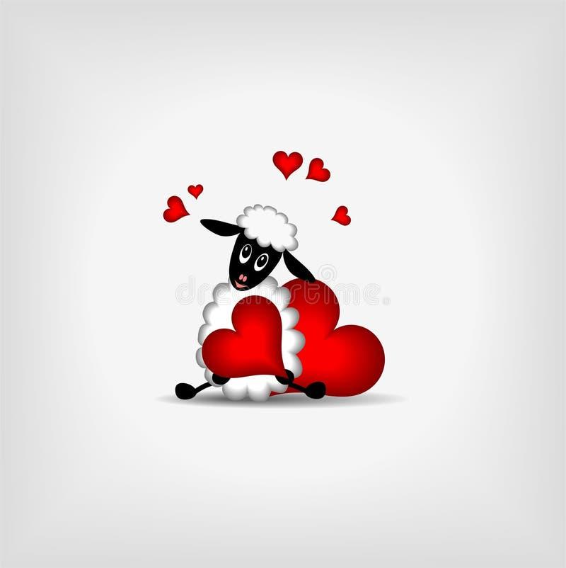 Twee rode harten en leuk lam royalty-vrije illustratie