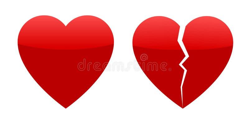 Twee rode harten, geheel en gebroken vector illustratie