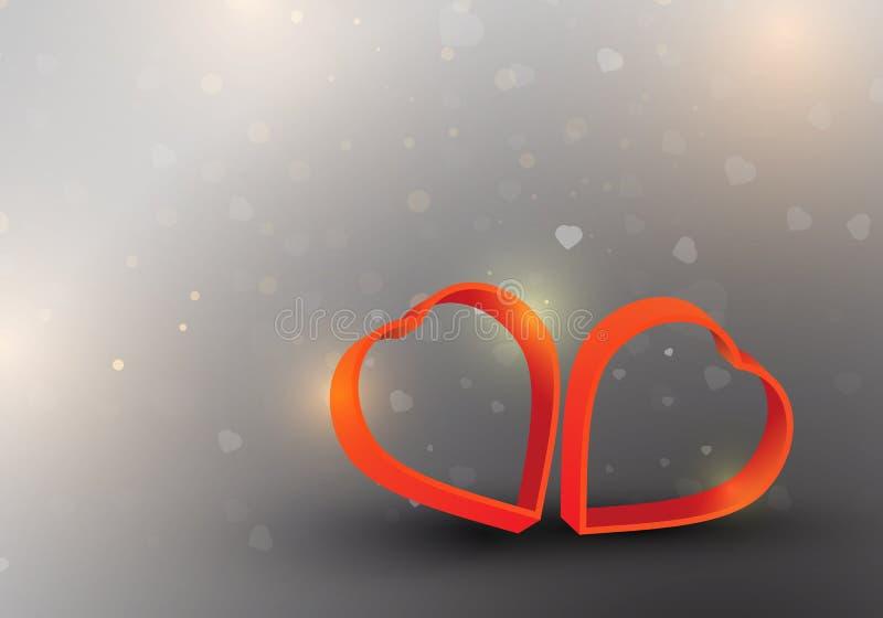 Twee rode harten is het symbool van liefde op dalend hart zoals sneeuw royalty-vrije illustratie