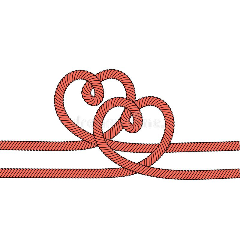 Twee rode harten met kabel op wit zoals liefdesymbool, voorraad vectorillustratie stock illustratie