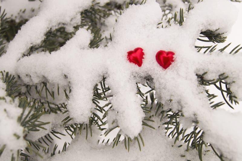 Twee rode harten op de achtergrond van een snow-covered de winterboom royalty-vrije stock foto