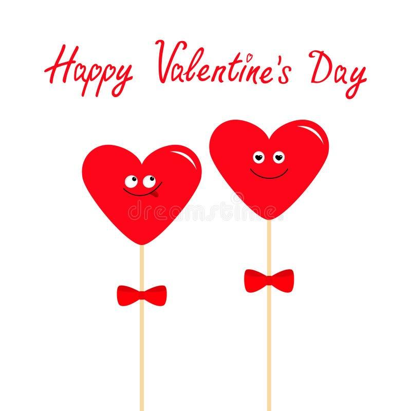 Twee rode harten op stokken met bogen Leuk beeldverhaalkarakter - reeks Grappig het glimlachen gezicht Datumpaar Gelukkige valent stock illustratie