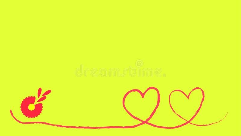 Twee rode hartvormen op een rode gebogen lijn stock illustratie