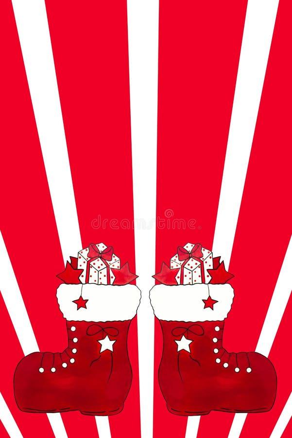 Twee rode Kerstmislaarzen met giften stock afbeeldingen