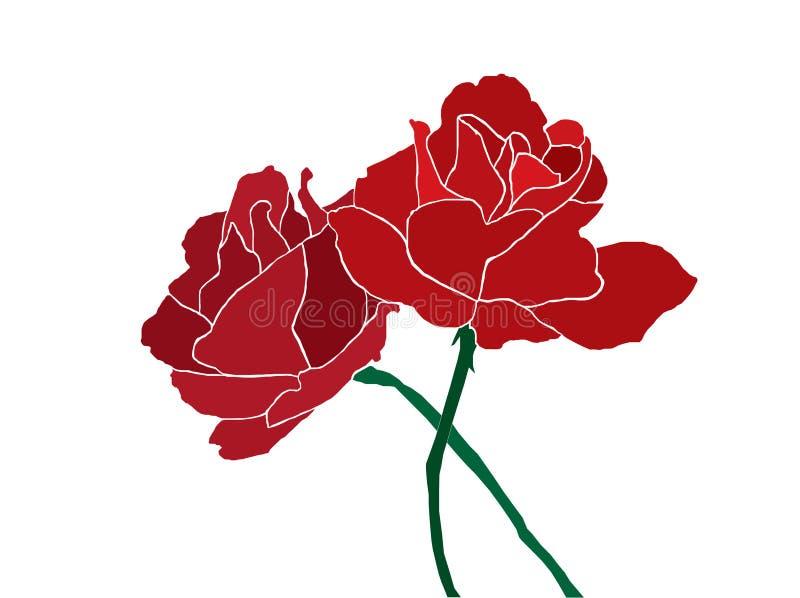 Twee rode rozen vector illustratie