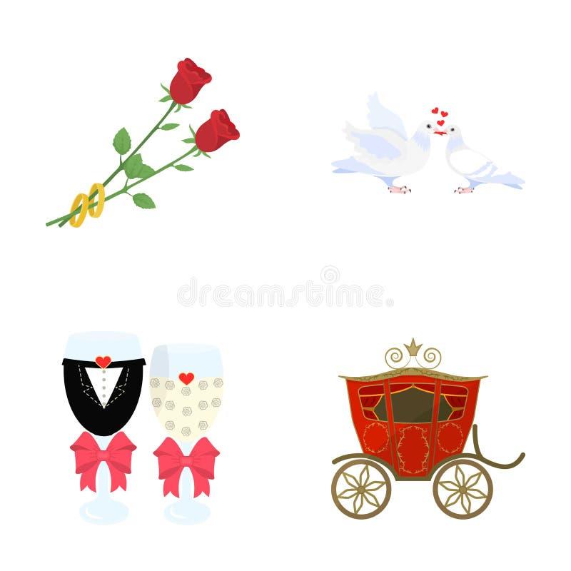 Twee rode rozen met ringen, duiven met harten kussen, huwelijksglazen met bogen en champagne, een vervoer die voor feestelijk royalty-vrije illustratie