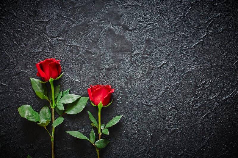 Twee rode rozen op een donkere, zwarte steenachtergrond Plaats voor tekst royalty-vrije stock afbeeldingen
