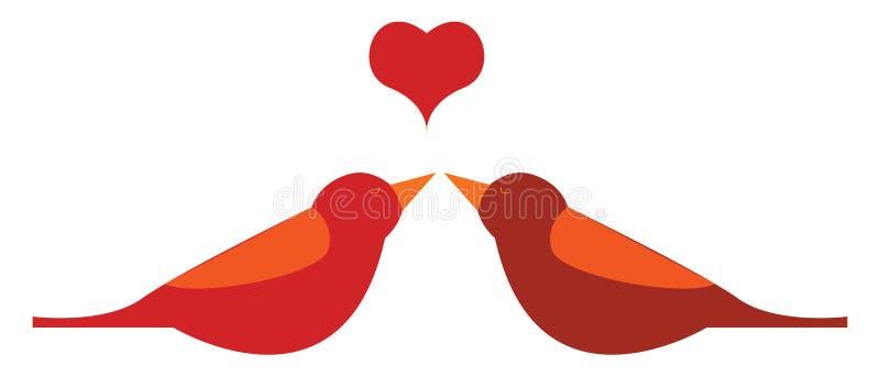 Twee rode vogels met een hart boven hen vector of kleurenillustratie royalty-vrije illustratie