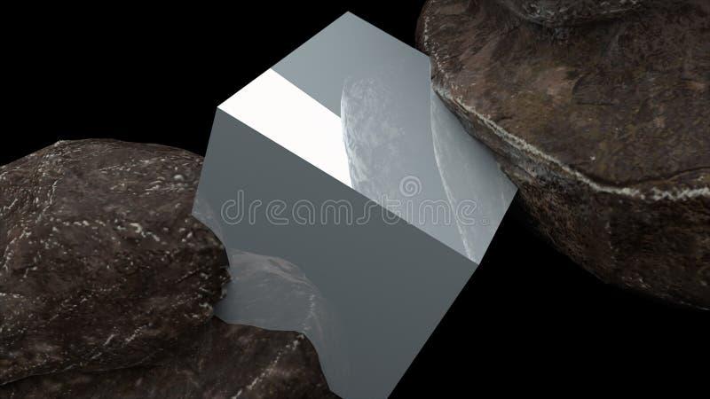 Twee rotsen en kubus met bezinning, abstractie, 3d het teruggeven computer produceerden achtergrond royalty-vrije illustratie