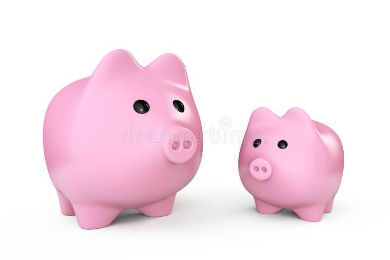 Twee Roze de stijlspaarpotten van Spaarvarkens stock illustratie