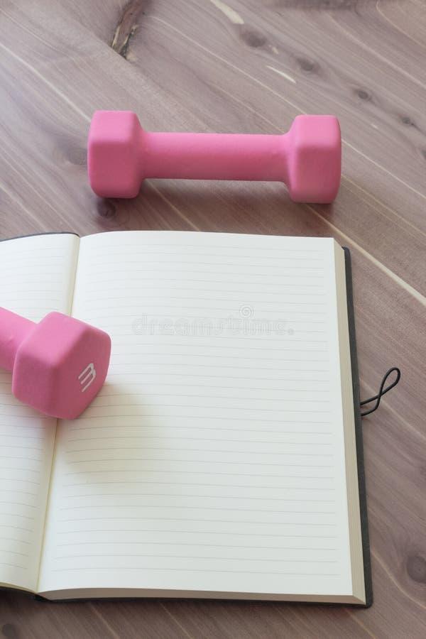 Download Twee Roze Handgewichten Met Open, Leeg Dagboek, Op Een Houten Lijstbovenkant, Exemplaar Ruimte, Neutrale Kleuren Stock Afbeelding - Afbeelding bestaande uit aspect, vloer: 107707491