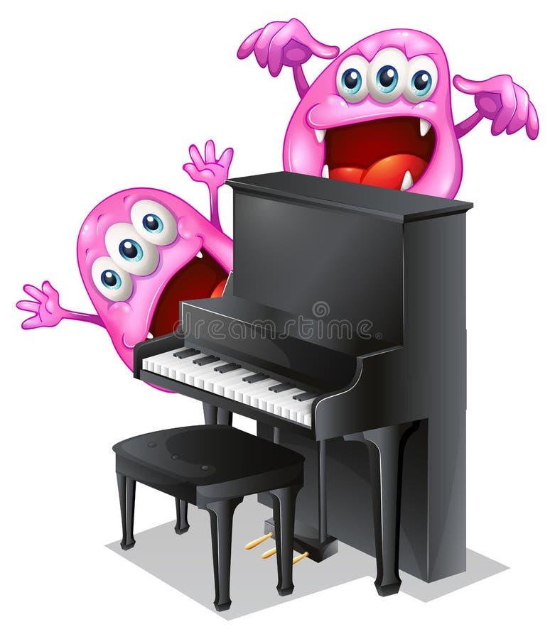 Twee roze monsters bij de rug van de piano stock illustratie