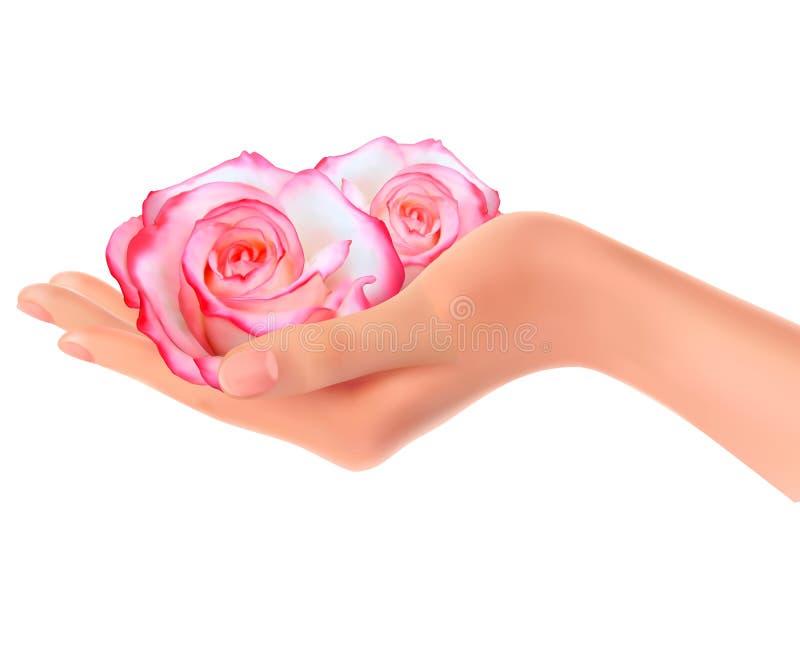 Twee roze rozen in een hand vector illustratie