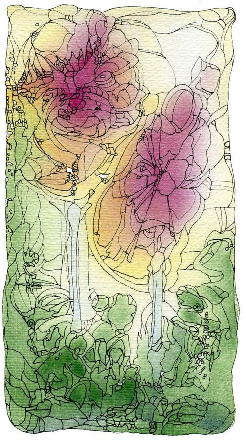 Twee rozenjugendstil stock illustratie