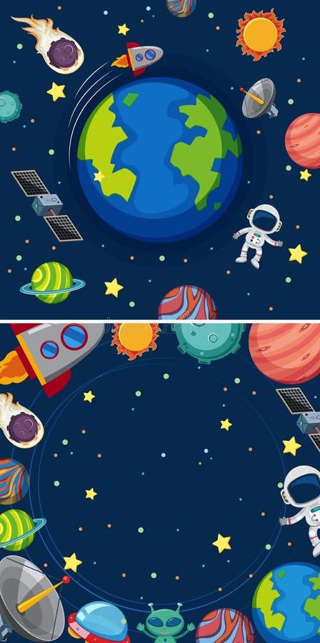 Twee scènes van planeten in melkweg royalty-vrije illustratie
