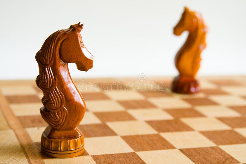 Twee schaakpaarden royalty-vrije stock afbeelding