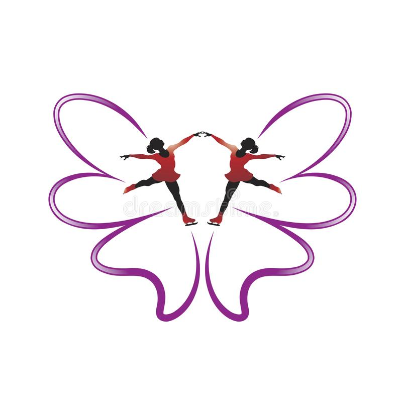 Twee schaatsende meisjes en vlinderveren vector illustratie