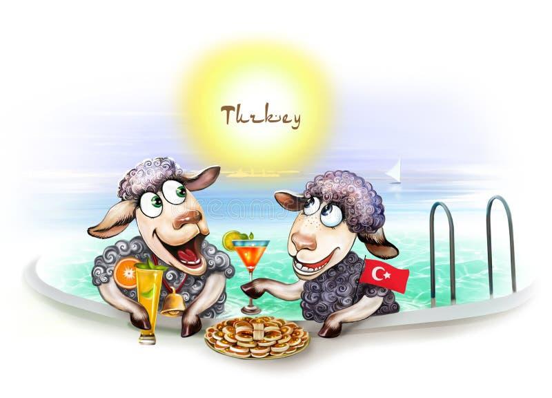 Twee schapen in een hotel in Turkije royalty-vrije illustratie