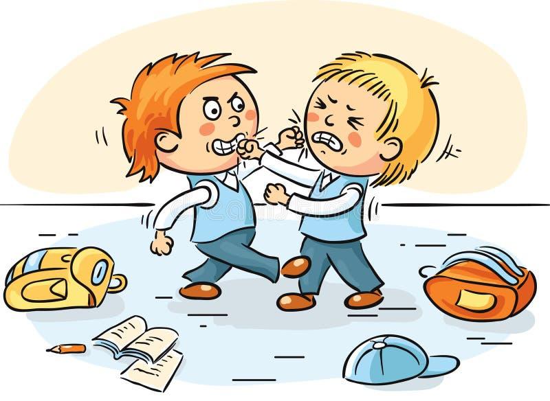 Twee schooljongens vechten stock illustratie