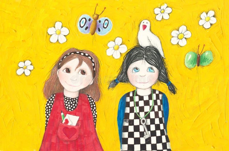 Twee schoolvrienden stock illustratie
