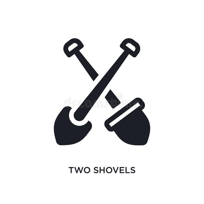 twee schoppen geïsoleerd pictogram eenvoudige elementenillustratie van de pictogrammen van het bouwconcept het tekensymbool van h royalty-vrije stock fotografie