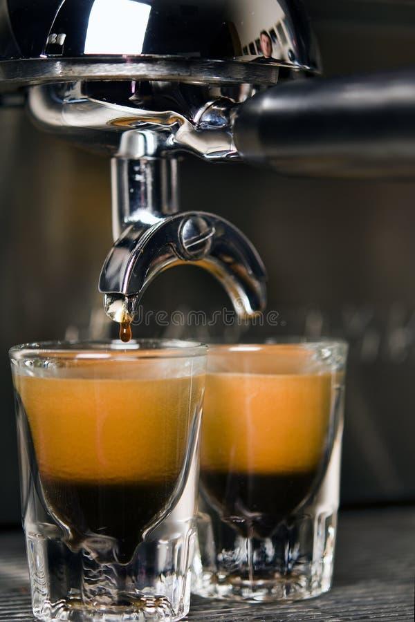 Twee schoten van espresso stock foto