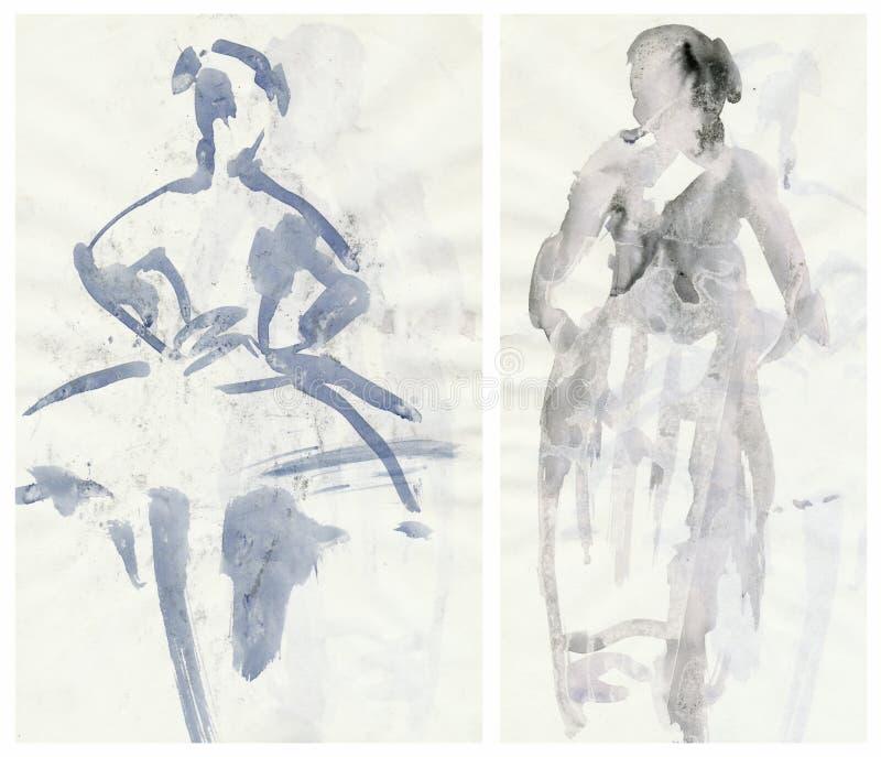 Twee schrijven ballerina's, het trekken in vector illustratie