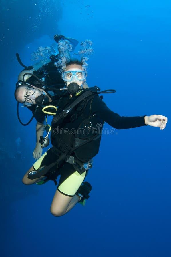 Twee scuba-duikers genieten samen van een gelukkige duikvlucht royalty-vrije stock afbeelding