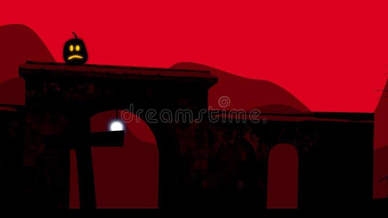 Twee semi cirkelbogen bij begraafplaats op Halloween vector illustratie
