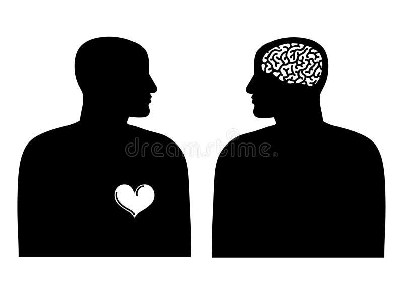 Twee silhouetten met hart en hersenen Logica en emotieconcept royalty-vrije illustratie