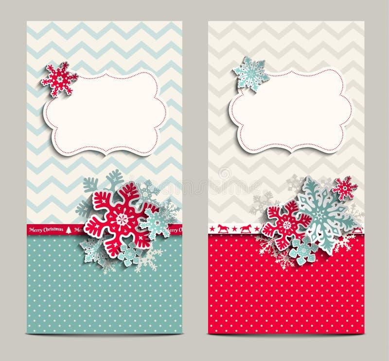 Twee sjofele elegante kaarten, kunnen als Kerstmis worden gebruikt vector illustratie