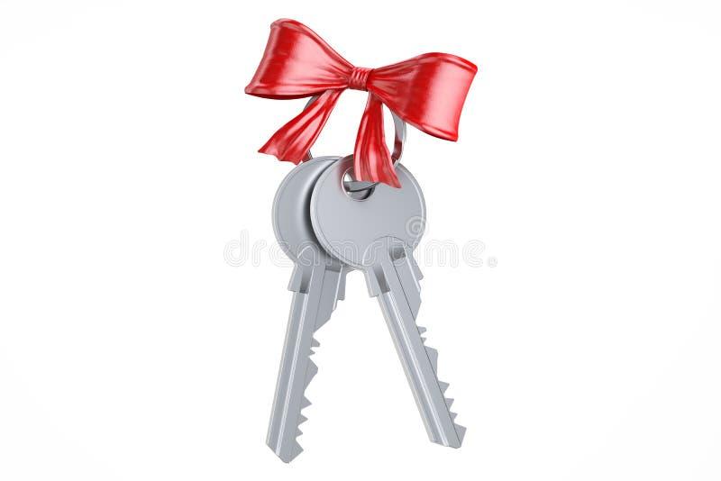 Twee sleutels met rode boog, het 3D teruggeven royalty-vrije illustratie