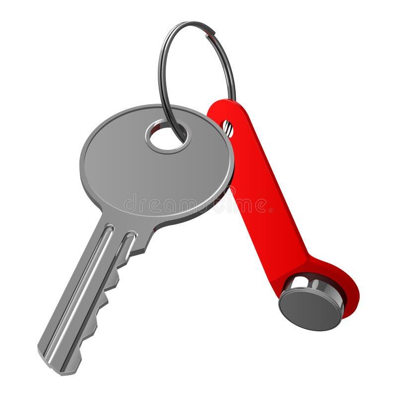 Twee sleutels van de flat, magnetisch en duidelijk, op een metaalring vector illustratie