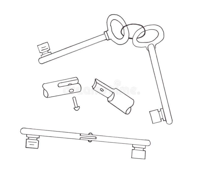 Twee sleutels worden verbonden door een scharnier stock illustratie