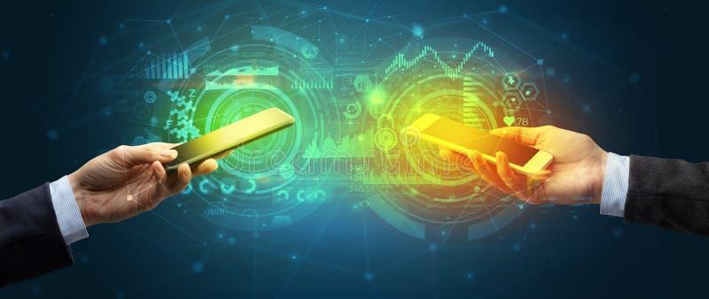 Twee smartphones, bedrijfs en communicatie concept vector illustratie