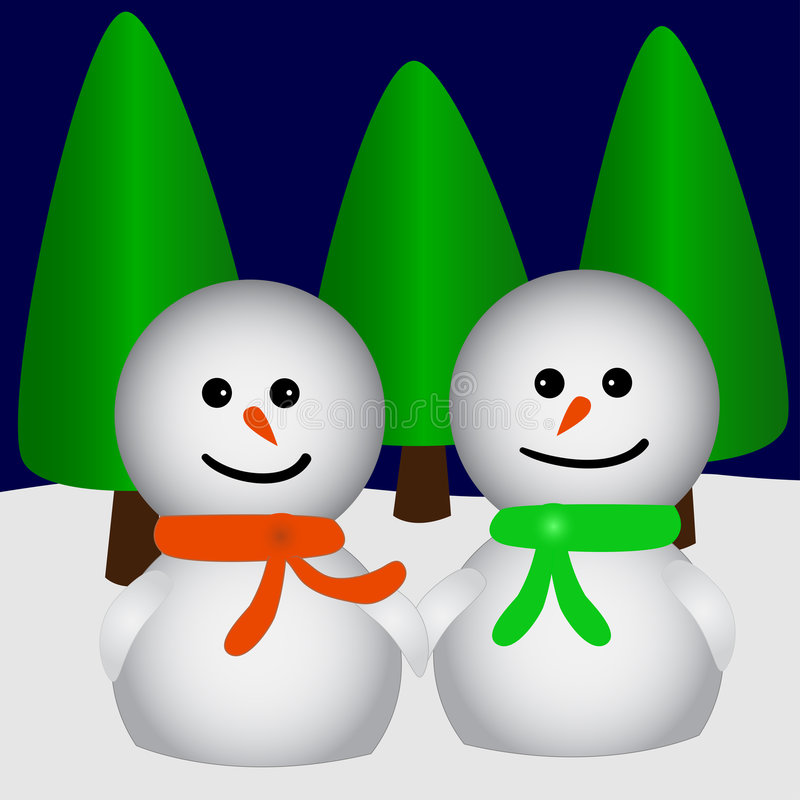 Twee snowfriends in liefde stock illustratie