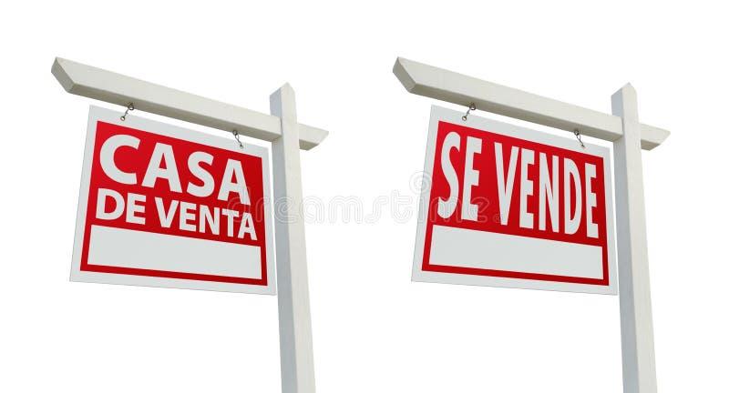 Twee Spaanse Tekens van Onroerende goederen Met het Knippen van Wegen royalty-vrije stock foto