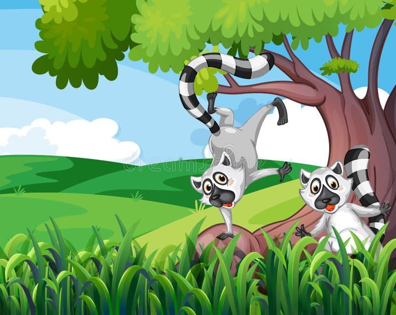 Twee speelse makien bij het bos royalty-vrije illustratie