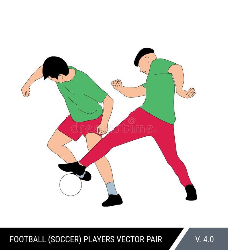 Twee spelers van hetzelfde team leiden tegen elkaar op Één voetbalster neemt de bal van andere Kleurenvector stock illustratie