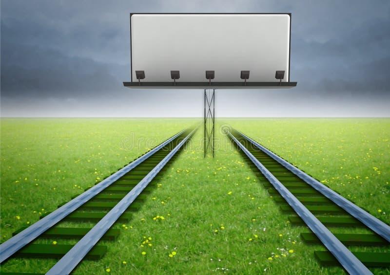 Twee spoorwegen van ecologisch vervoer met aanplakbord vector illustratie