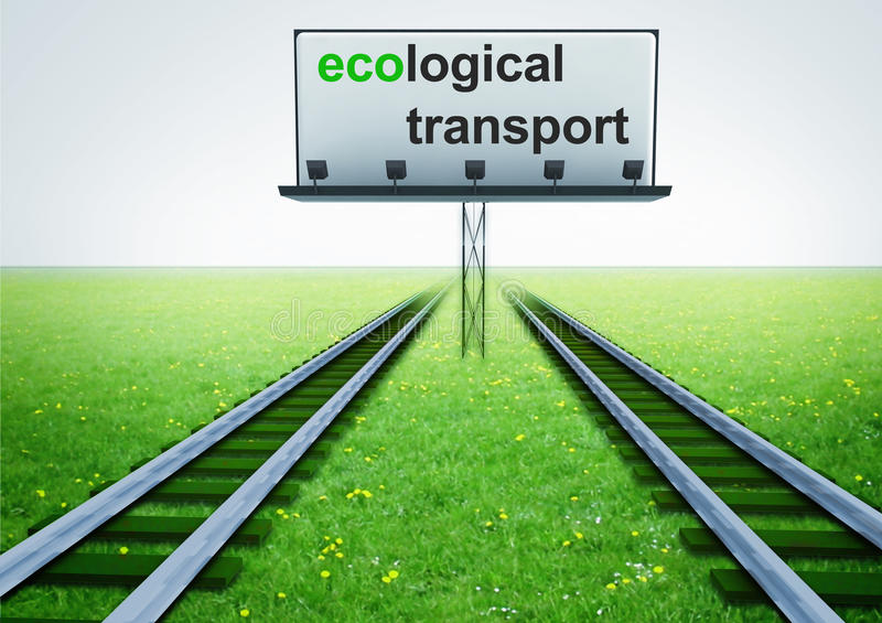 Twee spoorwegen van ecologisch vervoer met reclame royalty-vrije illustratie