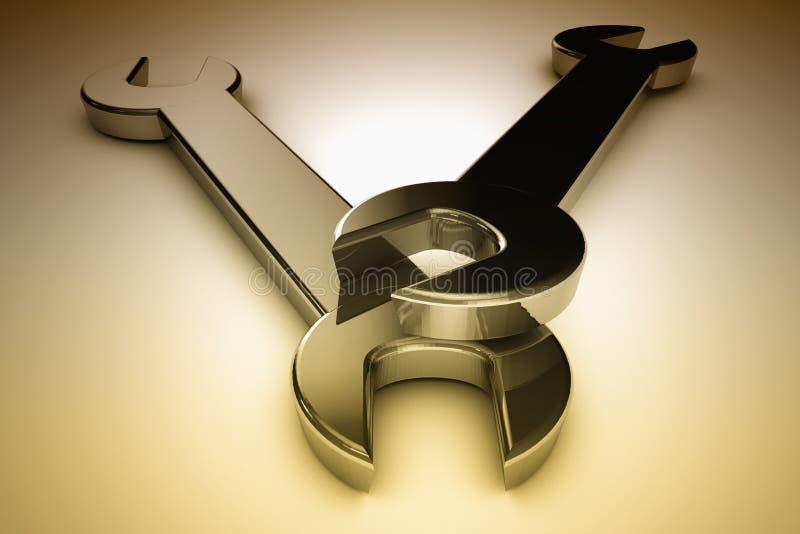 Twee staalmoersleutels vector illustratie