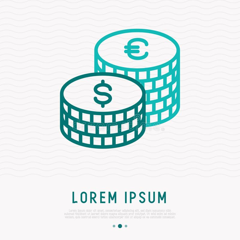 Twee stapels van dollar en de euro muntstukken verdunnen lijnpictogram royalty-vrije illustratie