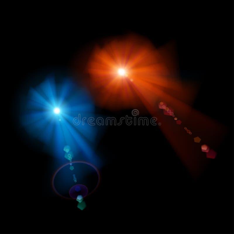 Twee sterren met lensgloed royalty-vrije illustratie
