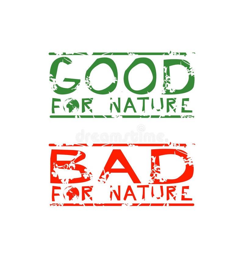 Twee Stickers met Ecologische Betekenis Goed voor Aard, Slecht voor Aard royalty-vrije illustratie