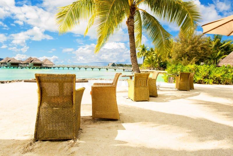 Twee stoelen en op een zandstrand met een mening over de lagune en Mou stock foto