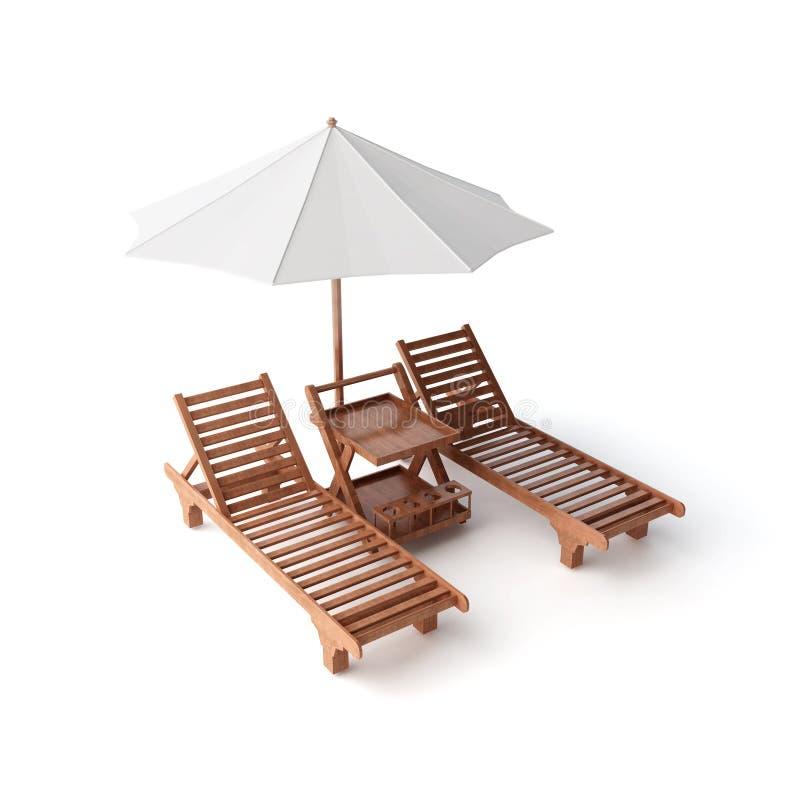 Twee stoelen en paraplu vector illustratie