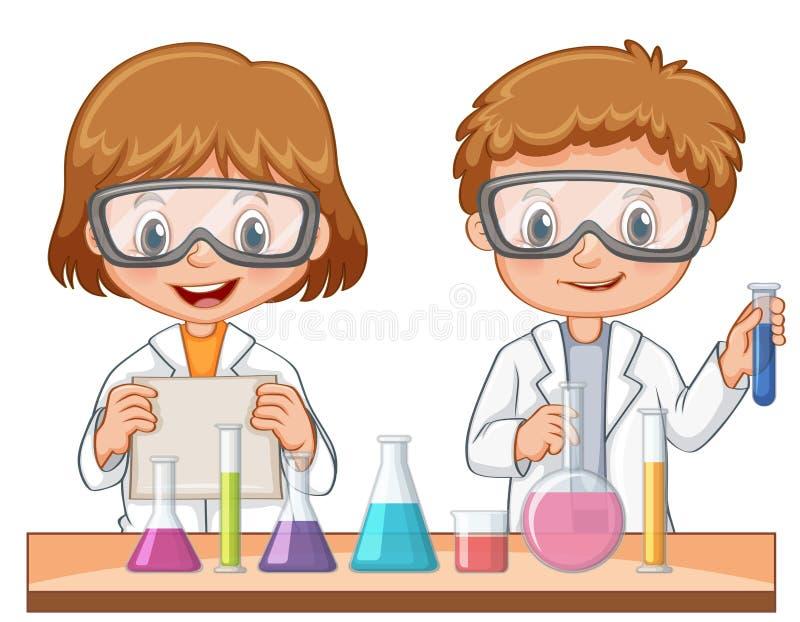 Twee students do science experiment stock illustratie